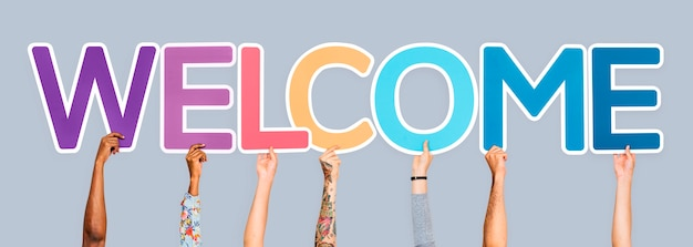 Hands holding the word welcome Photo Free Download