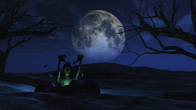 Spooky halloween background with zombie Photo Free Download