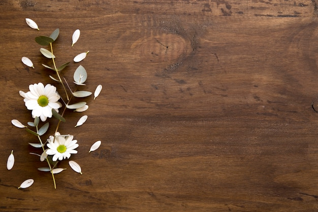 Fall Flowers Wallpaper Desktop Wooden Background With Flowers Photo Free Download