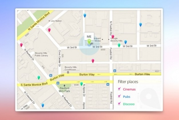 App google maps template PSD file Free Download