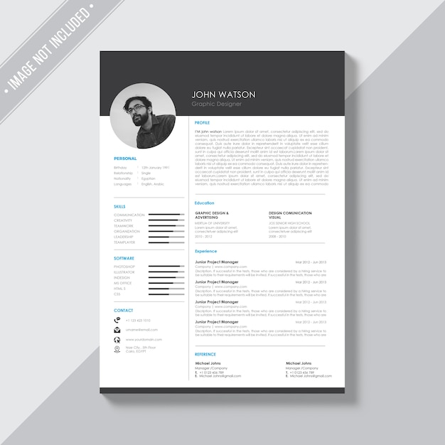 black and white cv