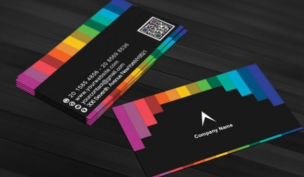 Black business card with rainbow stripes PSD file Free Download