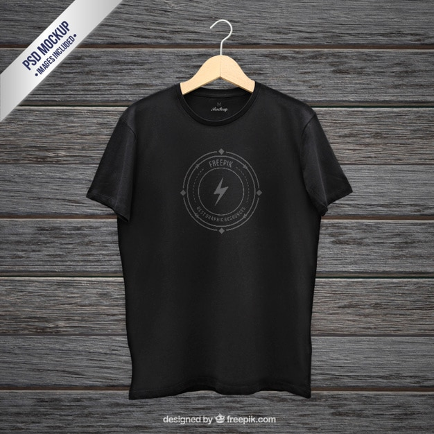 Black t-shirt mockup PSD file Free Download