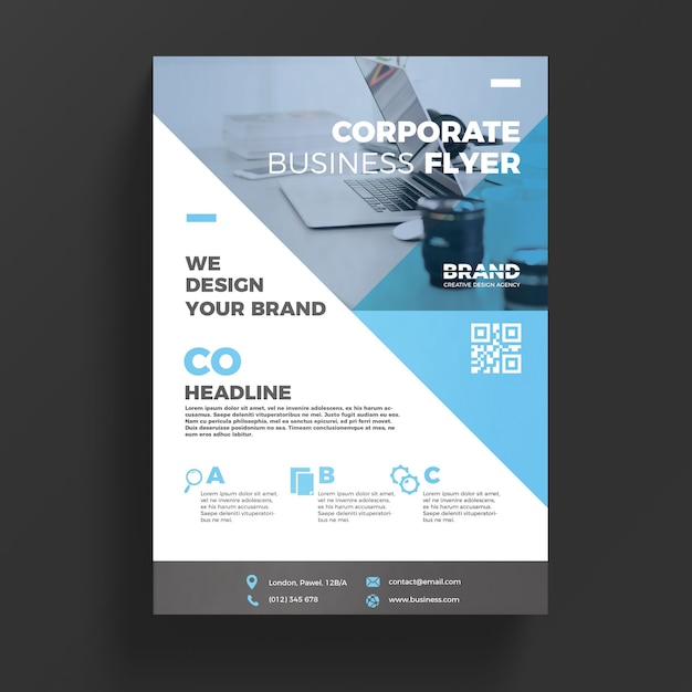 Blue corporate business flyer template PSD file Free Download - free design flyer templates