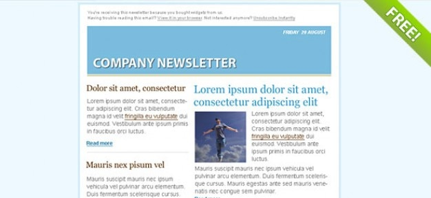 Blue Email Marketing Newsletter Template PSD file Free Download - company newsletter template free