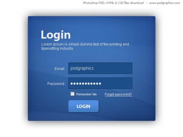 Blue login box, HTML and CSS with PSD template PSD file Free Download