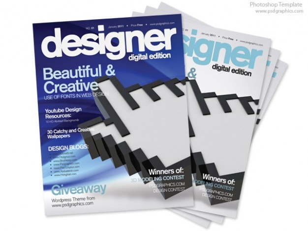 Blue magazine cover design, PSD print template PSD file Free Download