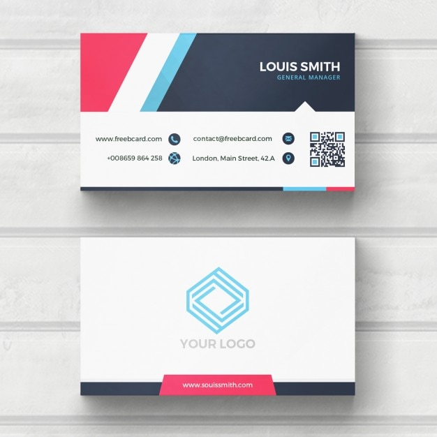 Blue, red, and white business card PSD file Free Download