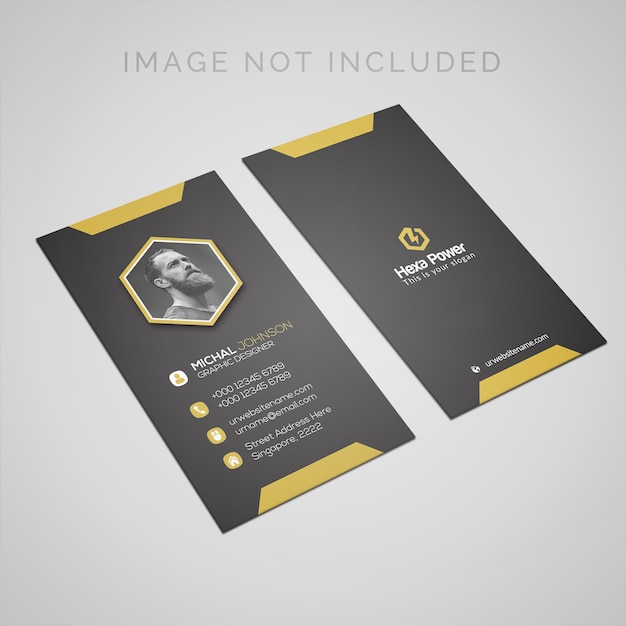 Business card mockup with space for portrait photo PSD file