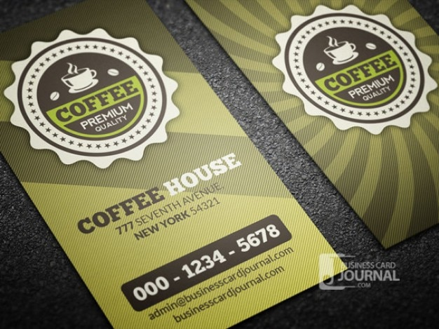 Coffee business card template retro style PSD file Free Download
