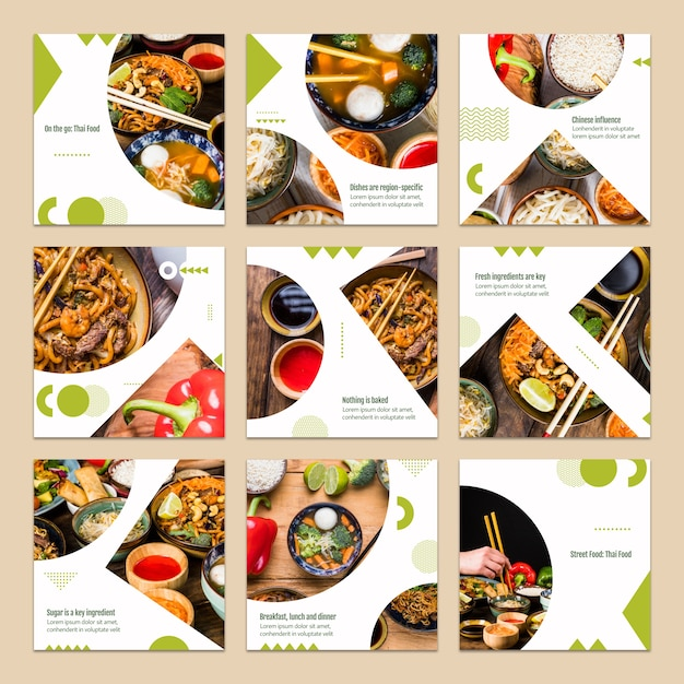 Collection of card template with food concept PSD file Free Download