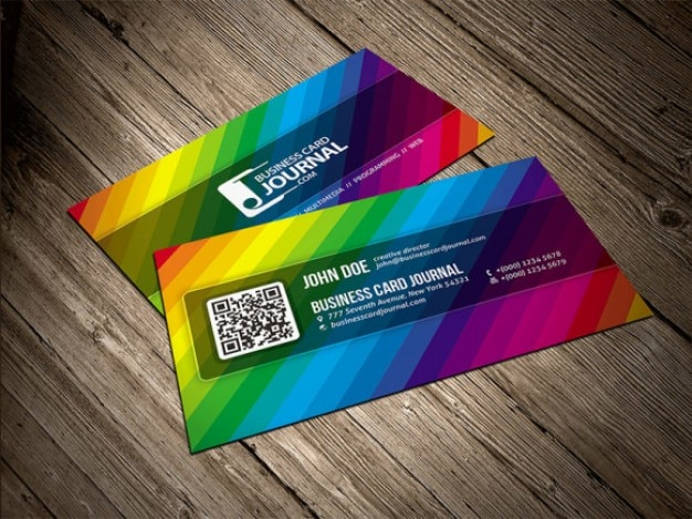 Color rainbow business card template PSD file Free Download