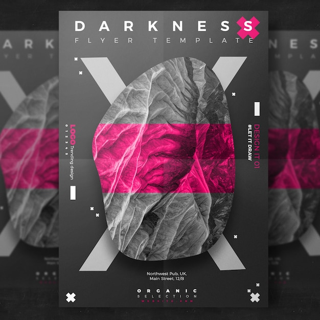 Creative dark event flyer PSD file Free Download