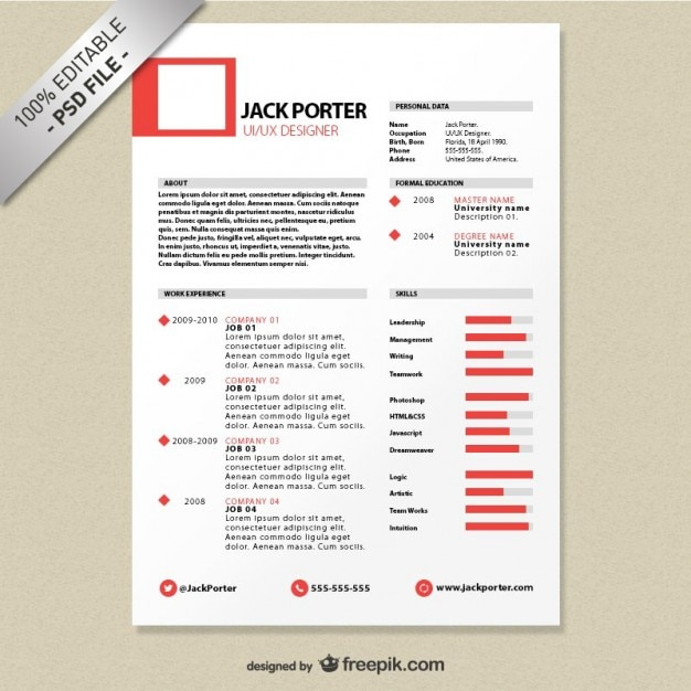 Creative resume template download free PSD file Free Download - Resume With Photo Template