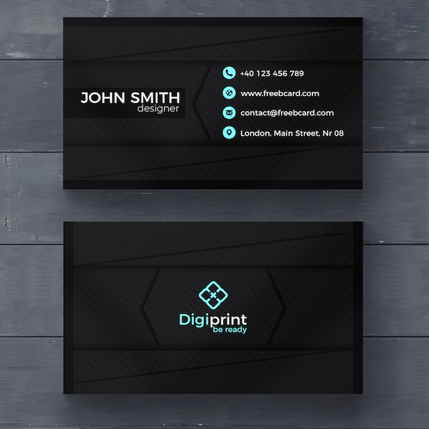 Dark business card template PSD file Free Download - business card template