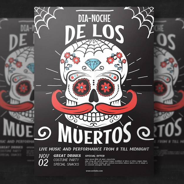 Day of the dead flyer template PSD file Premium Download