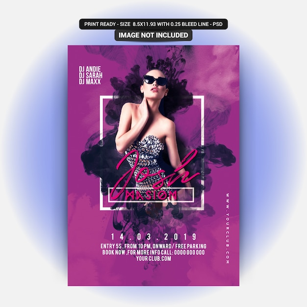 Dj party flyer PSD file Premium Download