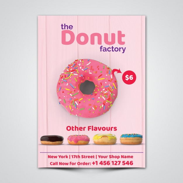 Donut Flyer Template PSD file Premium Download - donut template