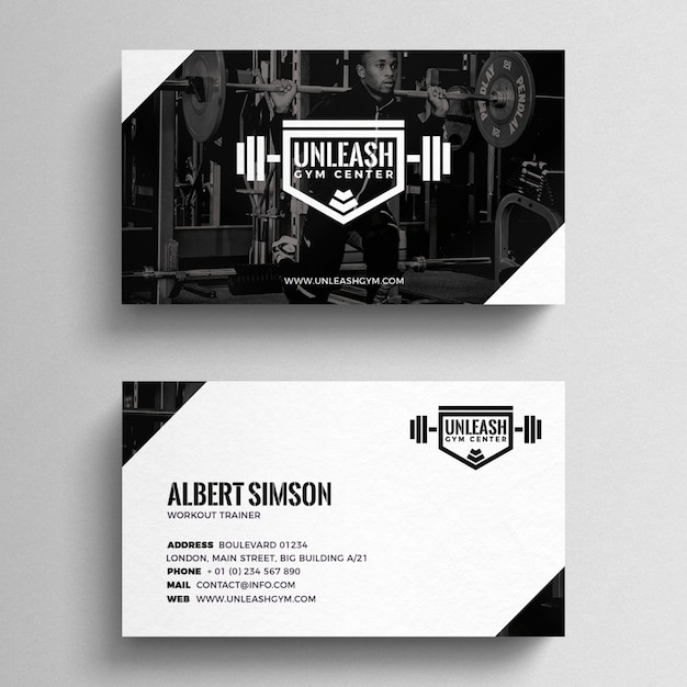 Fitness Business Card Template PSD file Free Download