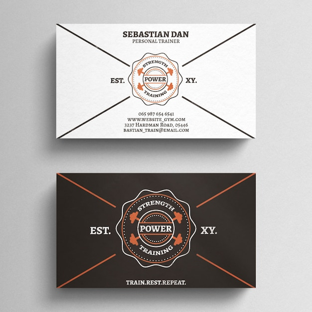 Fitness Trainer Business Card Template PSD file Free Download