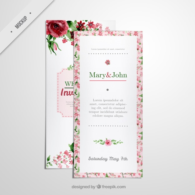 Floral long flyer invitation for wedding PSD file Free Download - wedding flyer