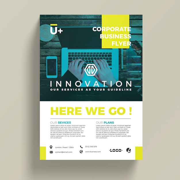Innovative corporate business flyer template PSD file Free Download