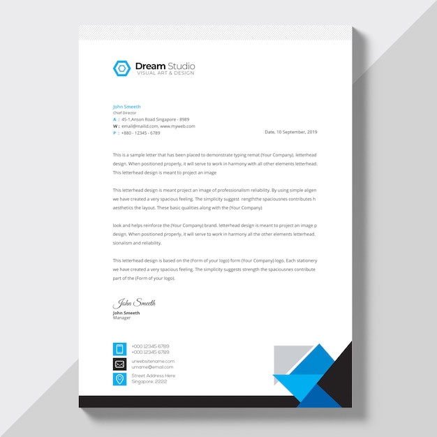 Letterhead template in flat style PSD file Free Download