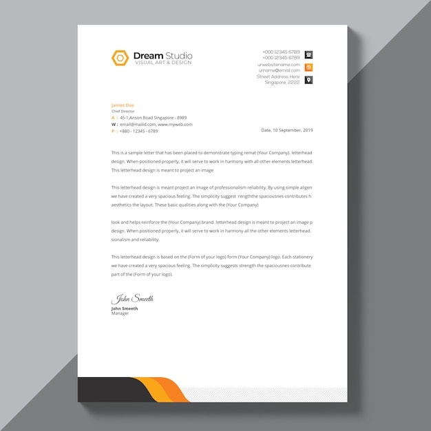 Letterhead template with orange details PSD file Free Download