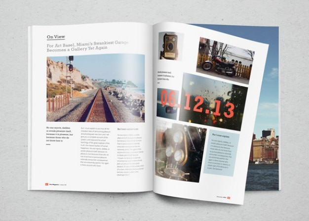 Magazine mockup with photos PSD file Free Download