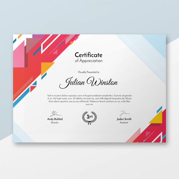 Modern certificate template PSD file Free Download