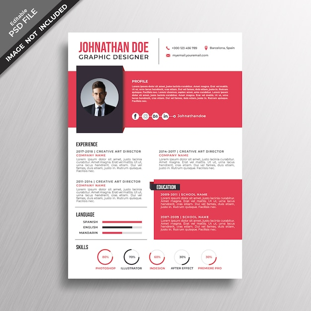 Modern style red resume template design PSD file Premium Download