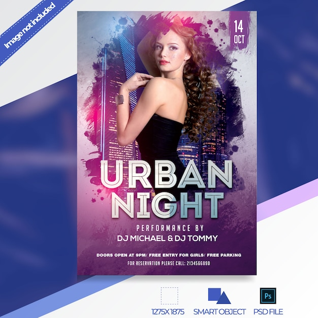 Night club flyer template PSD file Premium Download