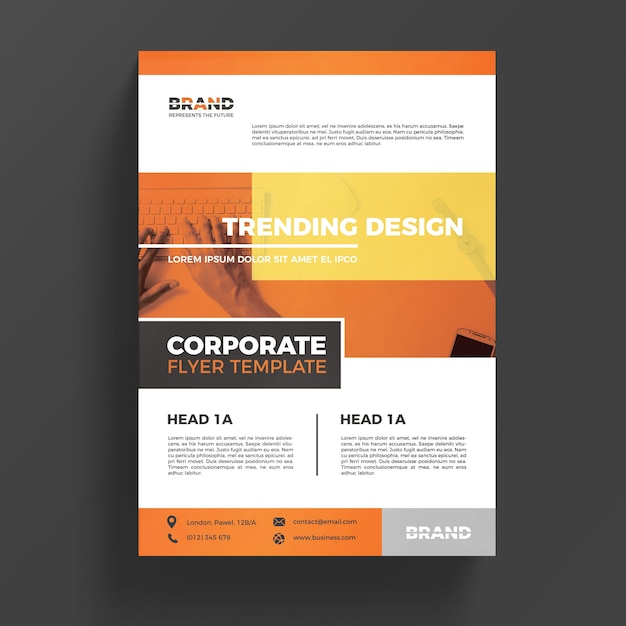 Orange corporate business flyer template PSD file Free Download