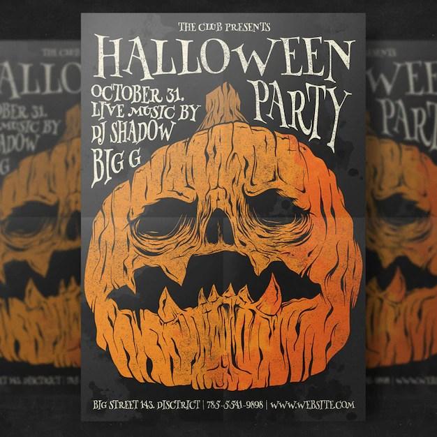 Pumpkin head halloween party flyer template PSD file Free Download