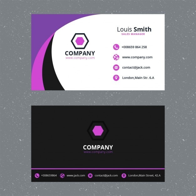 Purple business card template PSD file Free Download - Buisness Card Template