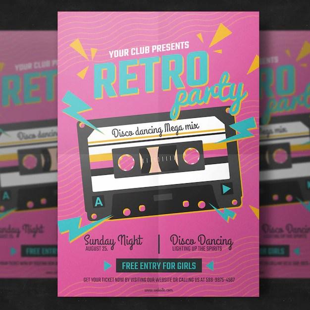Retro party flyer template PSD file Premium Download