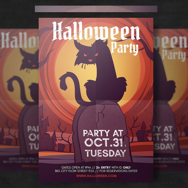 Spooky halloween flyer template PSD file Free Download