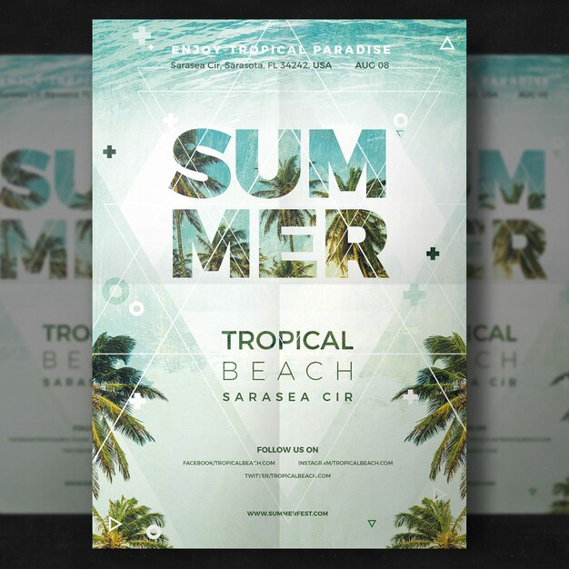 Summer party flyer PSD file Free Download - party flyer