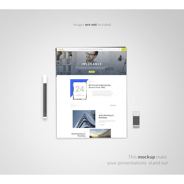 Mockup Free Web Page Web Page On White Background Mock Up Psd File | Free Download