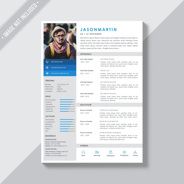 White cv template with blue and grey details PSD file Free Download - Resume With Photo Template