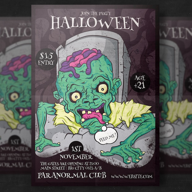 Zombie halloween party flyer template PSD file Premium Download
