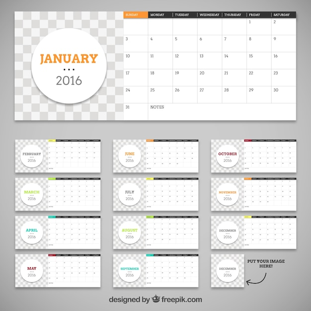 2016 calendar template with circles Vector Free Download