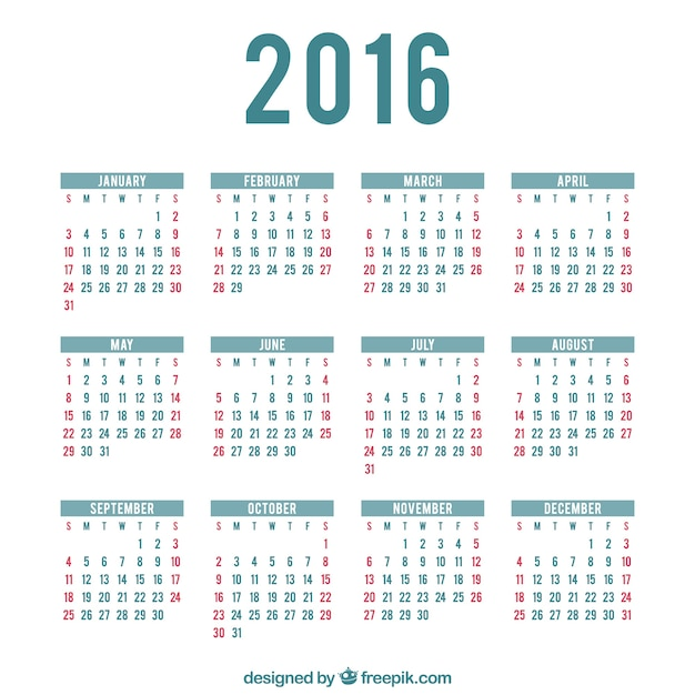 2016 calendar template Vector Free Download