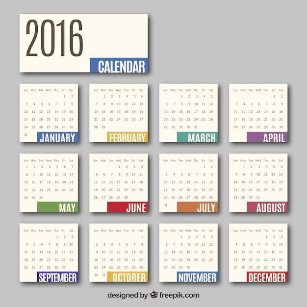 2016 monthly calendar Vector Free Download