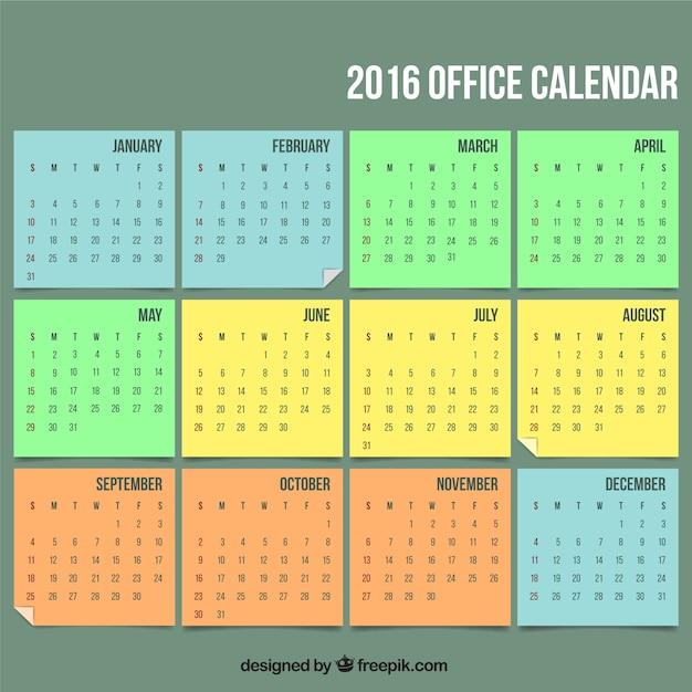2016 office calendar Vector Free Download