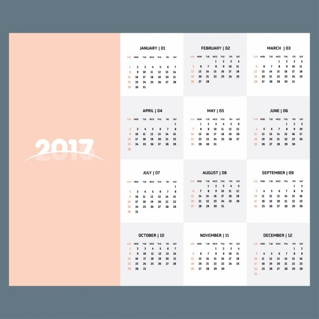 2017 calendar template of pastel color Vector Free Download - free calendar template