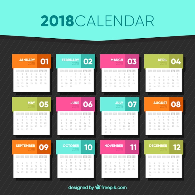 2018 calendar template in flat design Vector Free Download - calendar template
