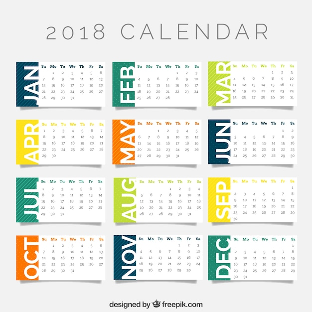 2018 calendar template Vector Free Download - calendar template