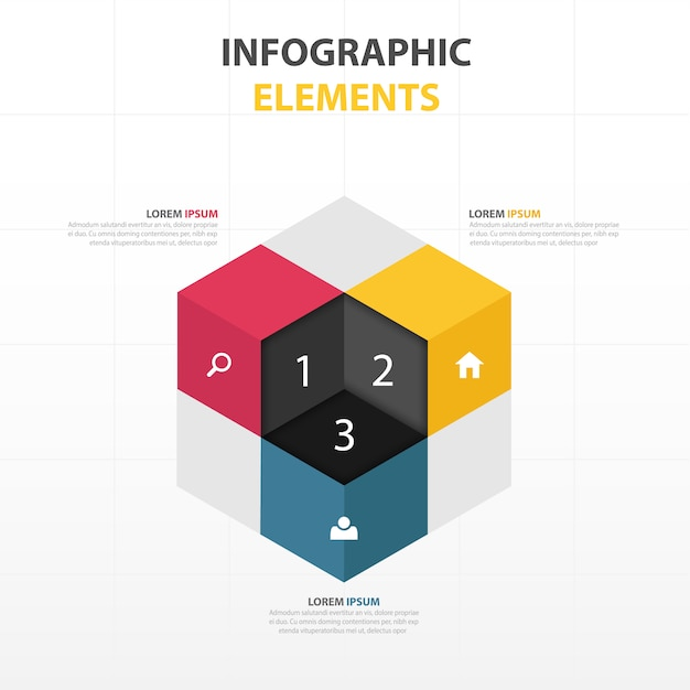 3d cube with infographics elements Vector Free Download