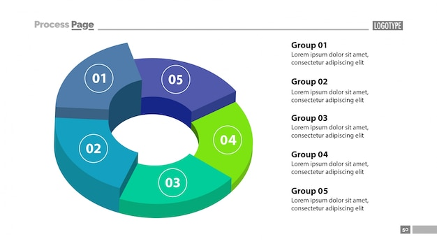 3d donut chart with five groups template Vector Free Download
